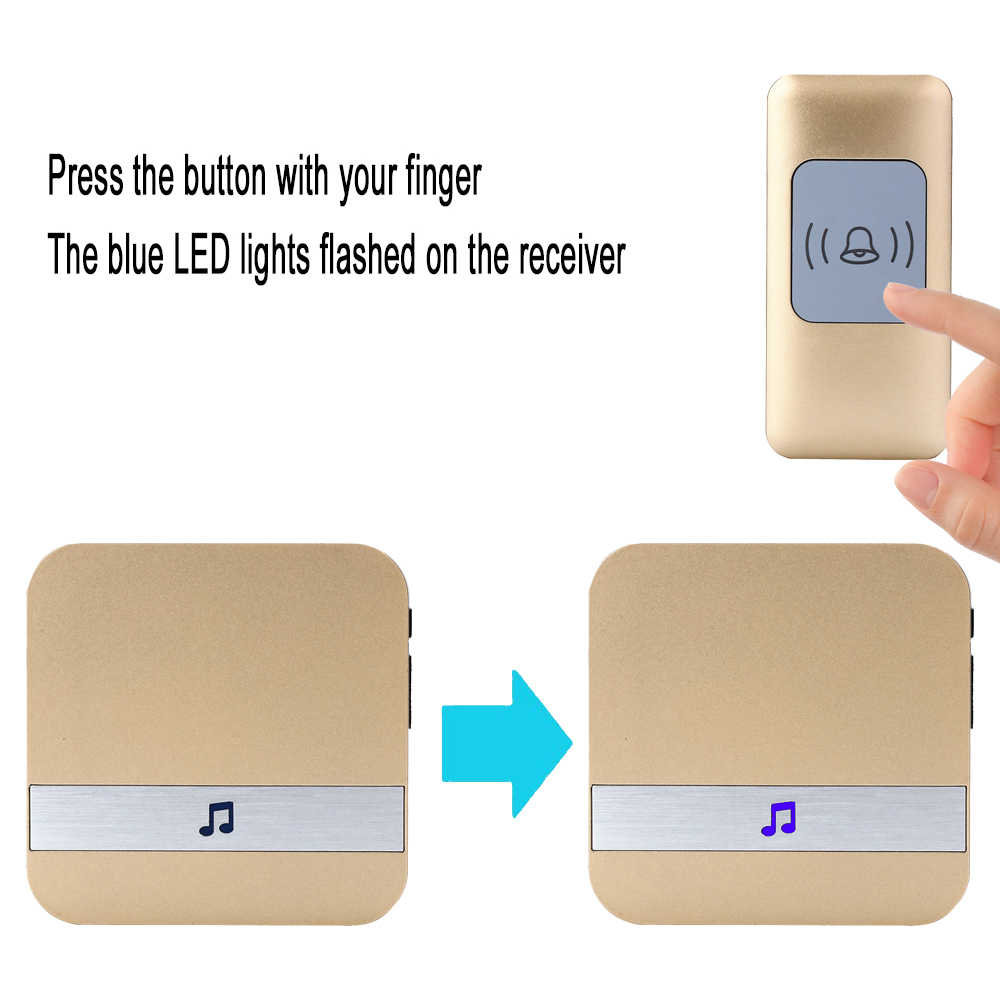 CACAZI timbre inalámbrico a prueba de agua 4 Botón de batería 1 receptor inteligente hogar inalámbrico puerta campana US EU UK enchufe 52 timbre 300 M distancia