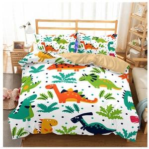 Image 2 - Jurassic Park 3D Dinosaur Bed Set Boys Bedclothes Childrens Bed Linen Set Bed Duvet Cover AU EU Single for Teens Bedding set