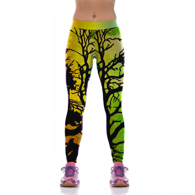 Women Pants Elastic Tree Branches Printed Leggings Fitness Female Compression Woman