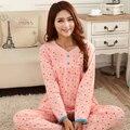 Frete grátis pijamas feminino primavera e outono 100% algodão salão de manga comprida plus size mulheres conjuntos de pijama