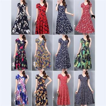 Women Vintage Bohemian Summer Dress Large Size 4XL 5XL Floral Midi Dresses Slim Casual Red Black Ladies Dress Femme vestidos 1