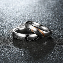 4.6MM Titanium steel love couples ring semi-titanium half a heart Couple Ring For Men Jewelry 4-15 US Size