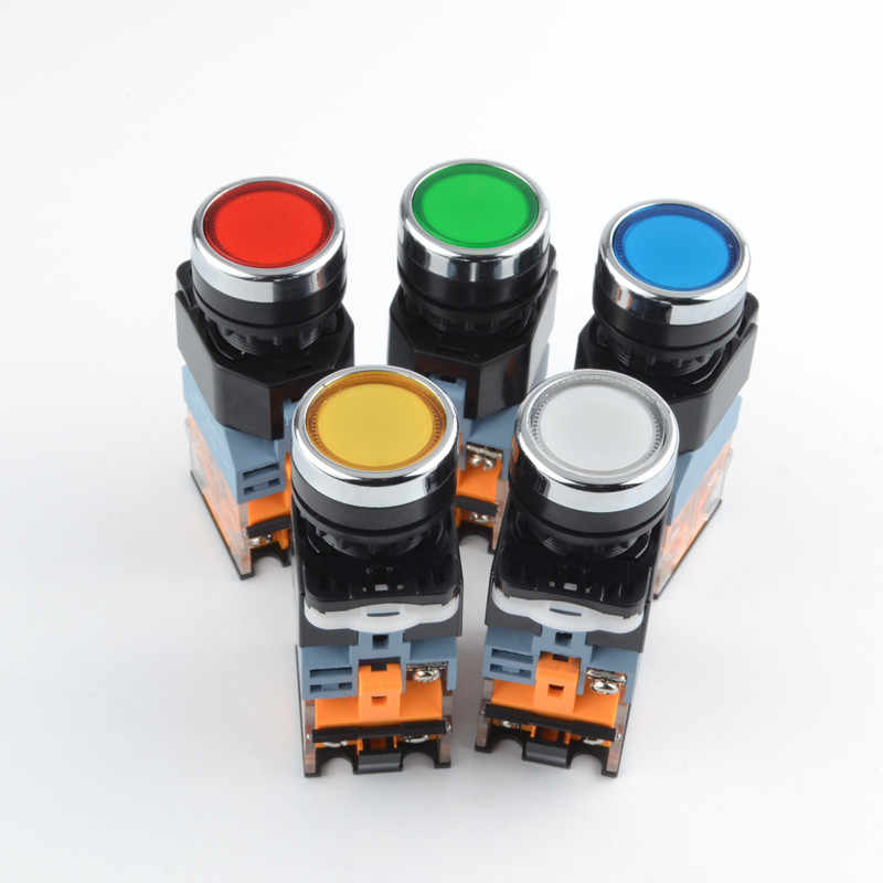 22mm Momentary Push Button Switch with Light  12V 24V 220V 380V LED Indicators