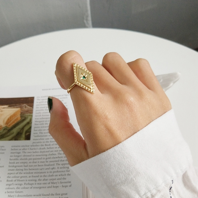 925 sterling silver parallelogram rings simple fashion design mosaic Chrysoberyl