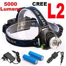 5000LM 12 W CREE XML-L2 LED Faro brillante estupendo LLEVÓ La Linterna 18650 linterna luz de la cabeza llevó la lámpara + 2×18650 Batería + cargador