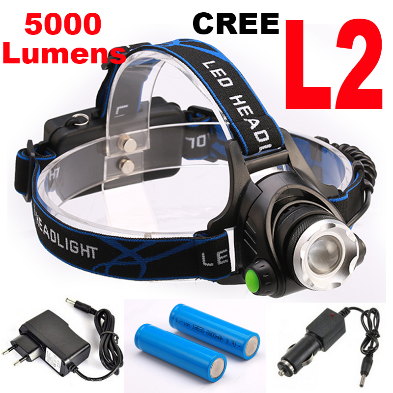 Super bright 5000LM 12W CREE XML-L2 LED Headlamp LED Headlight 18650 flashlight head light led  lamp +2×18650 Battery+ charger