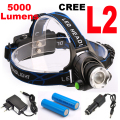 Super bright 5000LM 12W CREE XML-L2 LED Headlamp LED Headlight 18650 flashlight head light led  lamp
