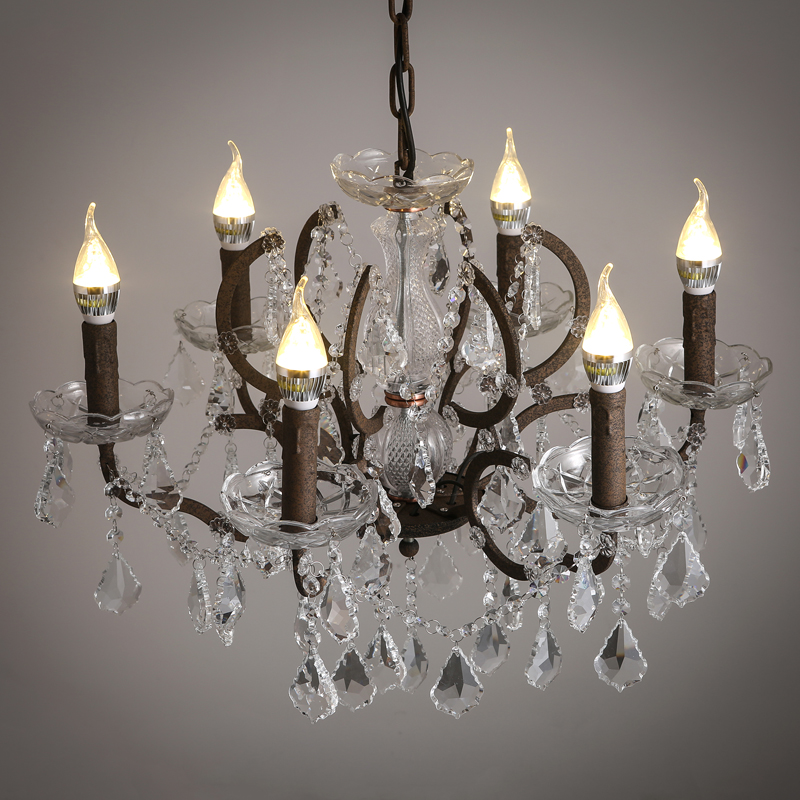 American Retro Old crystal 6heads chandelier creative art coffee shop candle living room restaurant E14 lamps lighting ZA9815 american living room retro art chandelier nordic country antler chandelier clothing store villa candle lamp