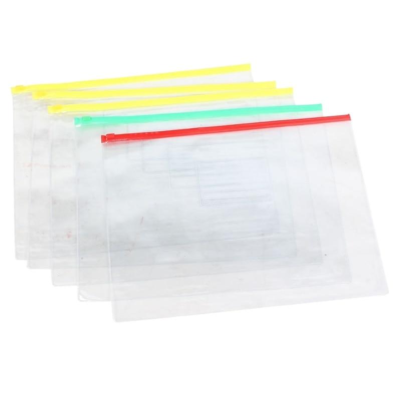 5 Pcs Clear Plastic Water Proof Pen A4 File Paper Ziplock Bags Folders