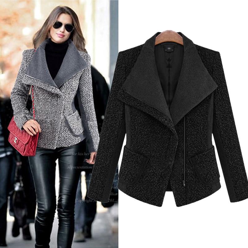 Wholesale Woolen Coat Women Cashmere Coat Long Sleeve Turn-down - Women's Clothing