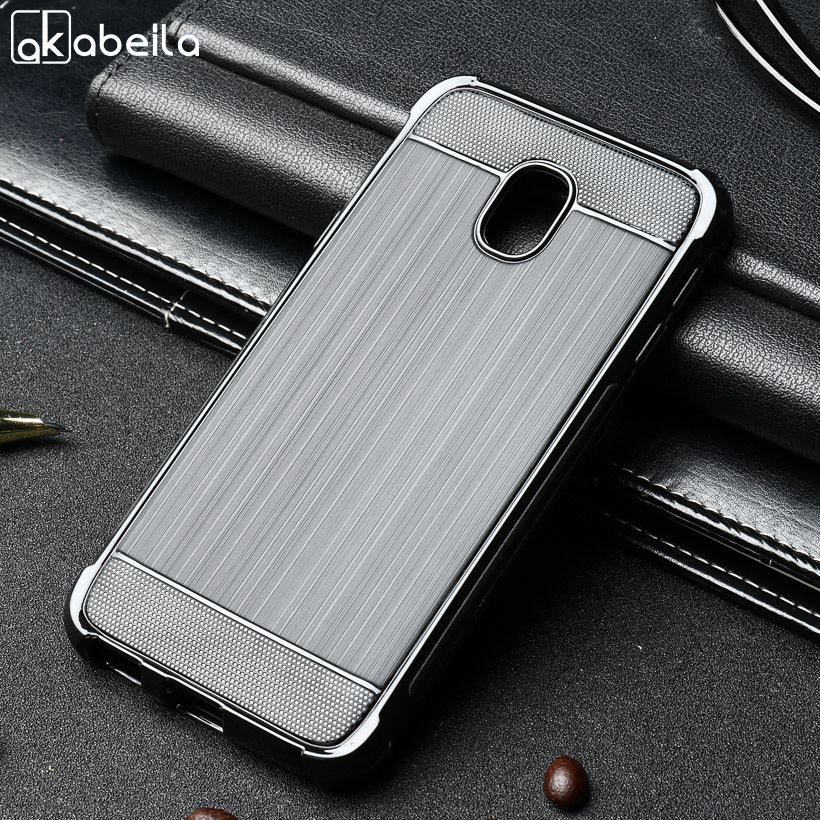 Galleria fotografica AKABEILA Phone Cases Covers For Samsung Galaxy J3 2017 5 Inch Brushed Wire Drawing Silicone Cover Shells Housing J330 J330F