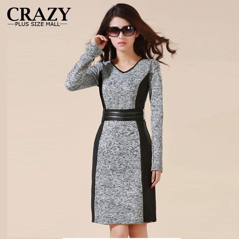 US $17.39 40% OFF|2019 M 5XL 4XL 3XL High Quality OL Business Dresses Work  Wear High Elastic Slim Warm Winter Dress Plus Size Womens Clothing-in ...