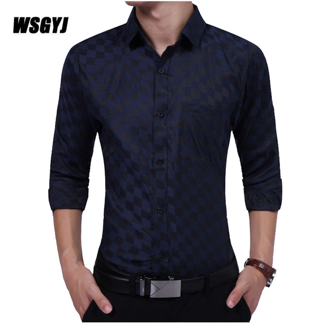 Plaid Shirt 2017 New Mens Designer Dress Shirts Tops Casual Slim ...