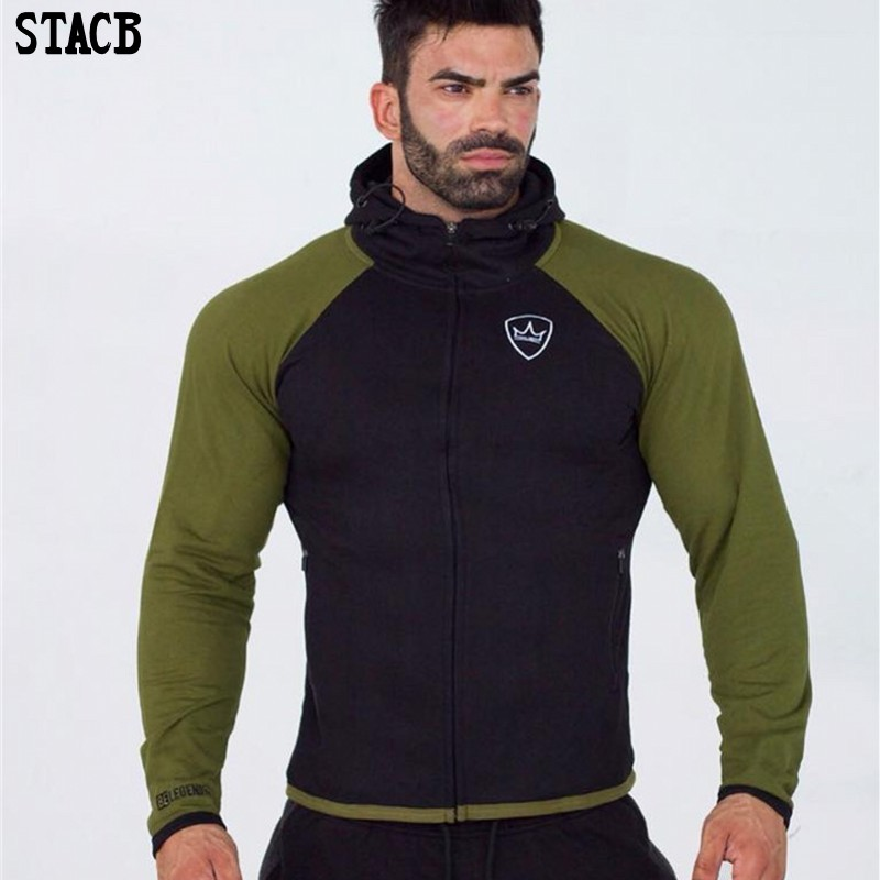 2018 Autumn Winter New Men Hooded Sweatshirt Gyms Fitness Hoodies Joggers clothing Male Casual cotton Solid color pullover coat
