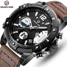 Reloj Hombre GOLDENHOUR Leather Sport Mens Watch erkek kol saati Automatic Clocks Military Man Wist Watches Relogio Masculino(China)