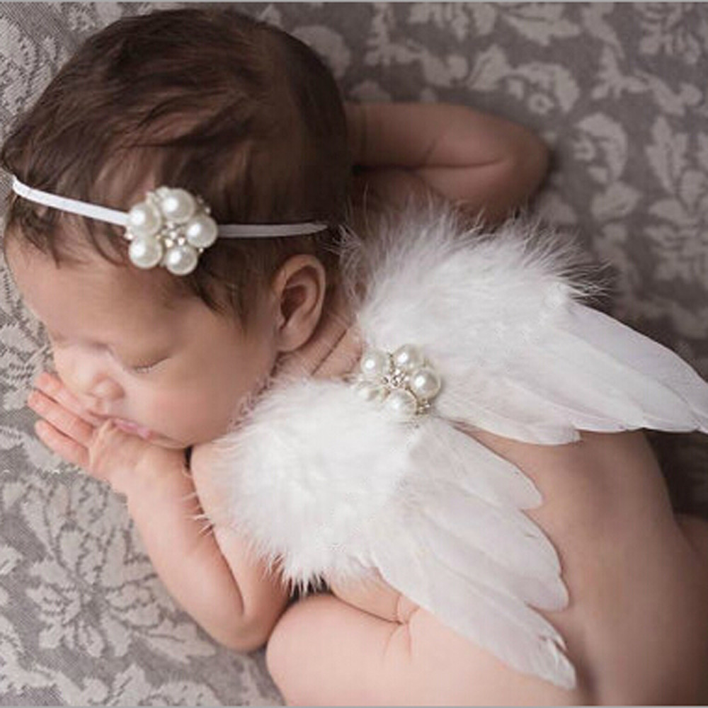 Hot Sales 2018 New 0-6 Months Baby White Feather Fairy Angel Wings Photo/Photography Props Costume Party Decor
