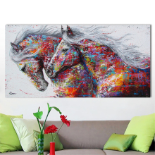 The Two Running Horse Art Canvas