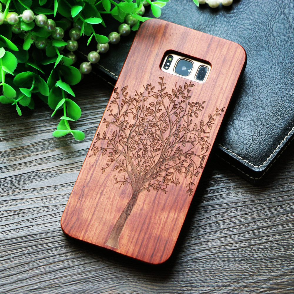 Us 798 Natural Wood Phone Case For Samsung Galaxy S7 Edge S8 S9 Life Tree Pattern Wooden Cover Galaxy S9 S8 Plus Note 8 Iphone 7 Cases In Fitted