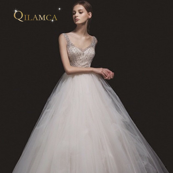 Real Picture Custom Made Beaded Wedding Dresses 2018 A-Line Sexy Vestido de Novia Wedding Gown Plus Size