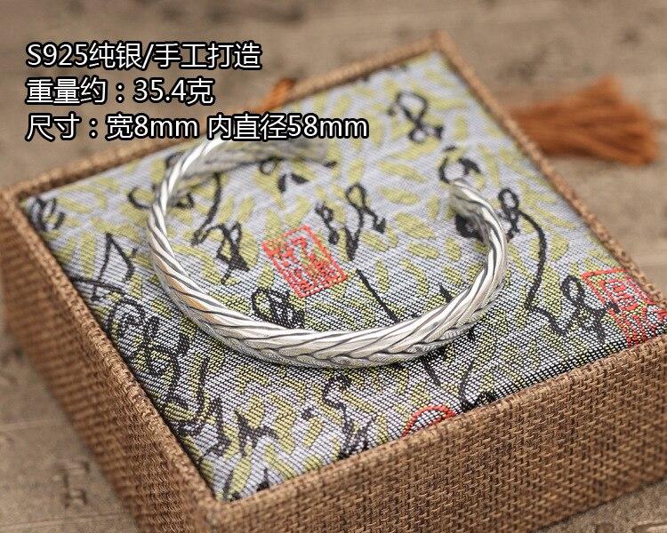 100% Sterling Zilver 925 Weave Manchet Bangle Armband Mannen Vrouwen Medium Eenvoudige Korte Stijl Thain Zilver 925 Vintage Sieraden Geschenken - 3