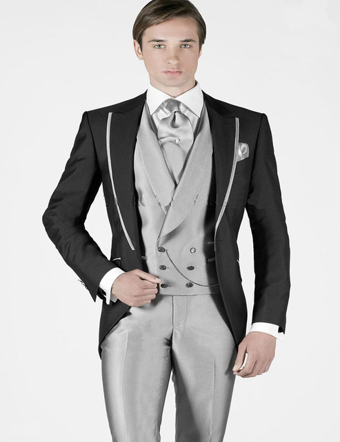 Latest Coat Pant Designs Black Sliver Satin Italian Men Suit Slim ...