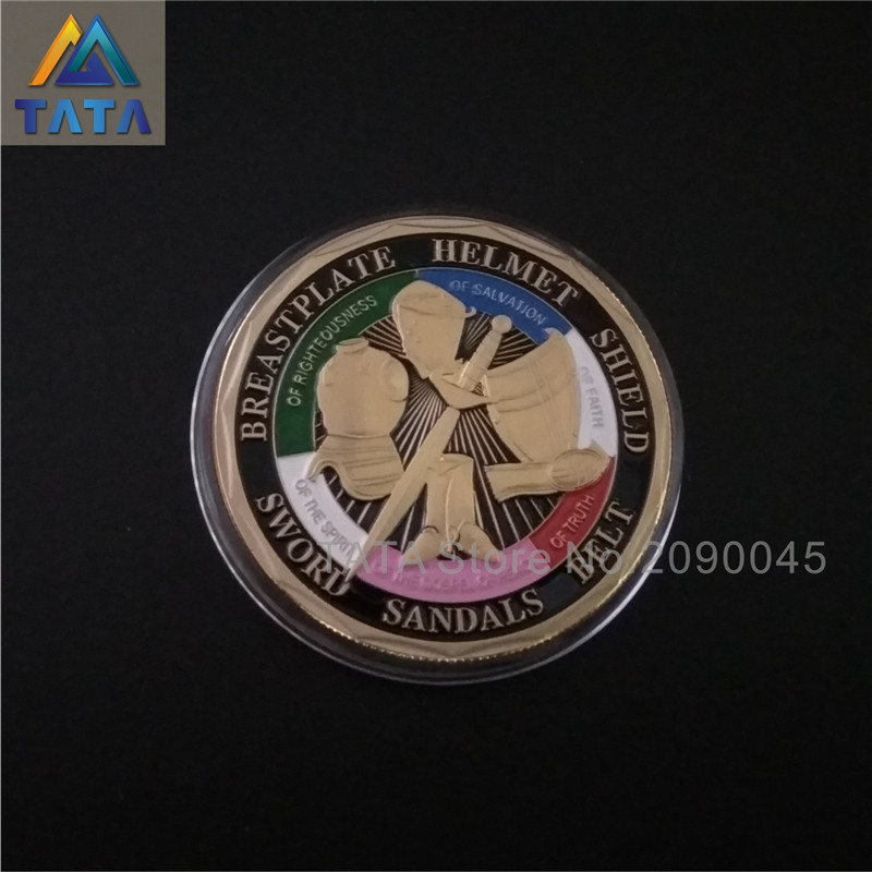 TATA 2016 5Pcs/Lot Free Shipping Put on the Whole Armor of God Challenge Coins Plating Commemorative Coins Souvenir Coin
