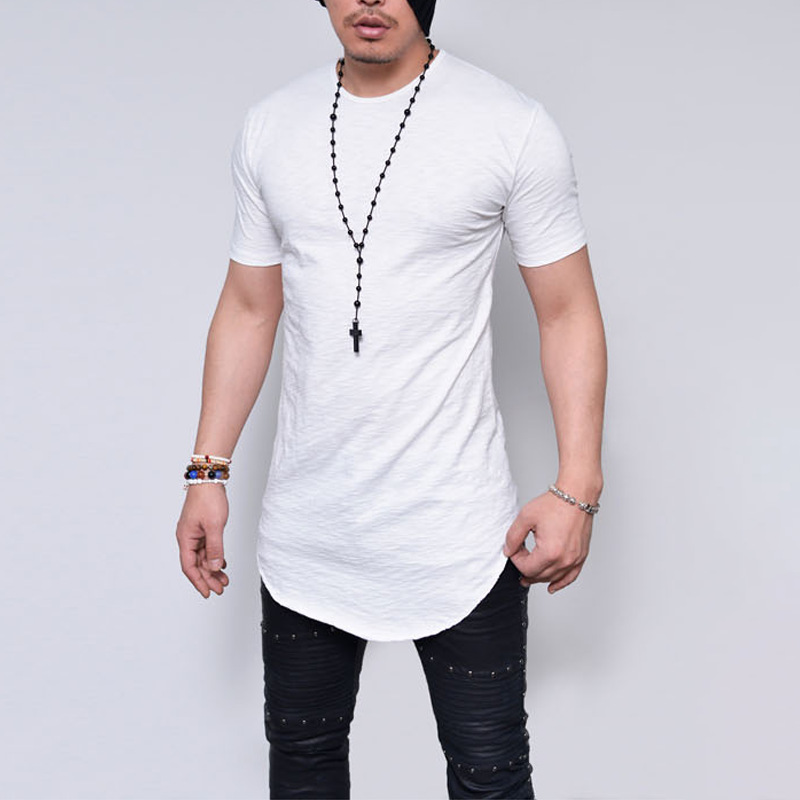 Plus Size S-5XL 2019 Summer Fashion Casual  Pure Color Slim Fitness Elastic Men O-Neck Short Sleeve Tshirt Male Hip Hop Tops