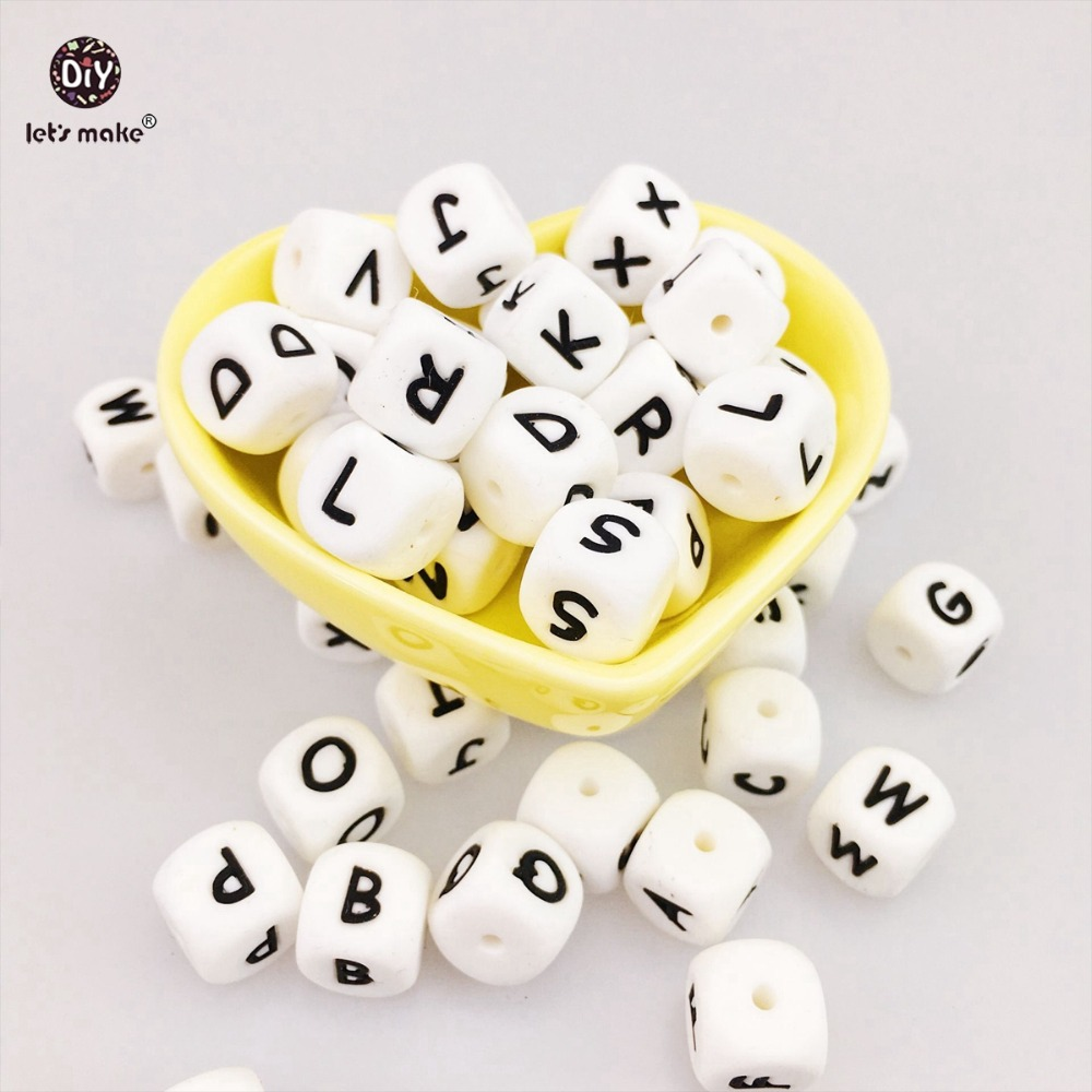 Let's Make 26pc Silicone Beads Baby Teether DIY Necklace Grade BPA Free Silicone Chewing Beads For Teething Necklace Letter