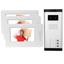 """New brand 7"""" color video door phone 3 monitors with 1 intercom doorbell can control 3 houses for multi apartment Free shipping"""