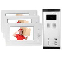 New brand 7'' color video door phone 3 monitors with 1 intercom doorbell can control 3 houses for multi apartment Free shipping