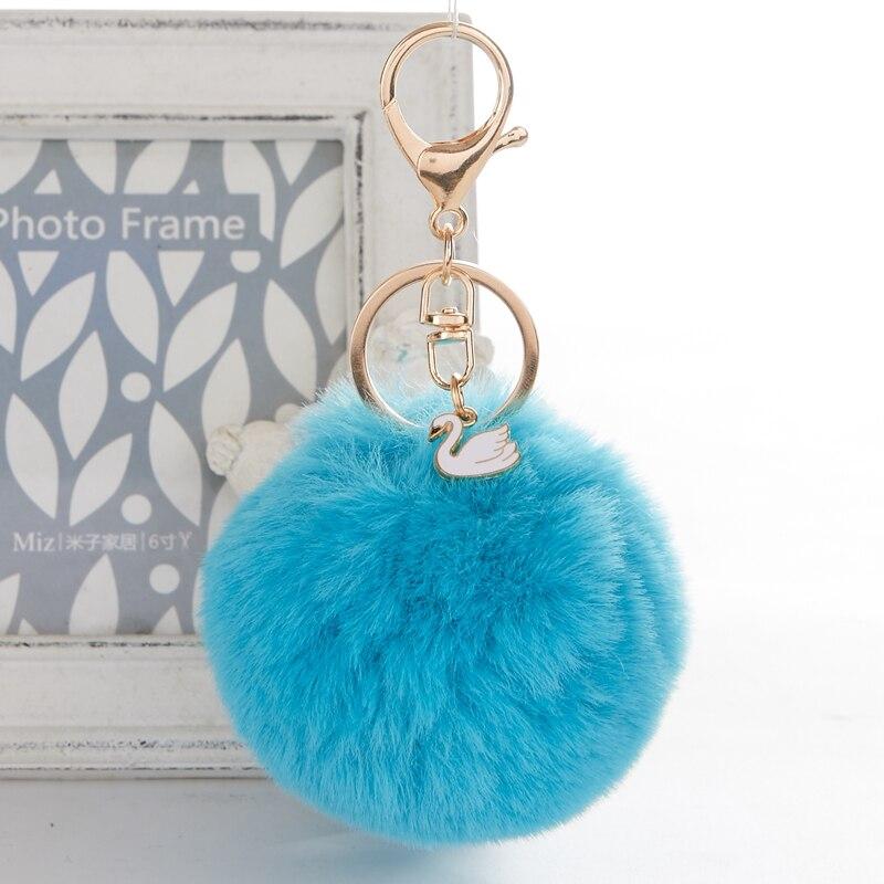Keyring Soft Faux Fluffy Rabbit Fur Swan HandBag Pendant Charm Pompom Keychain