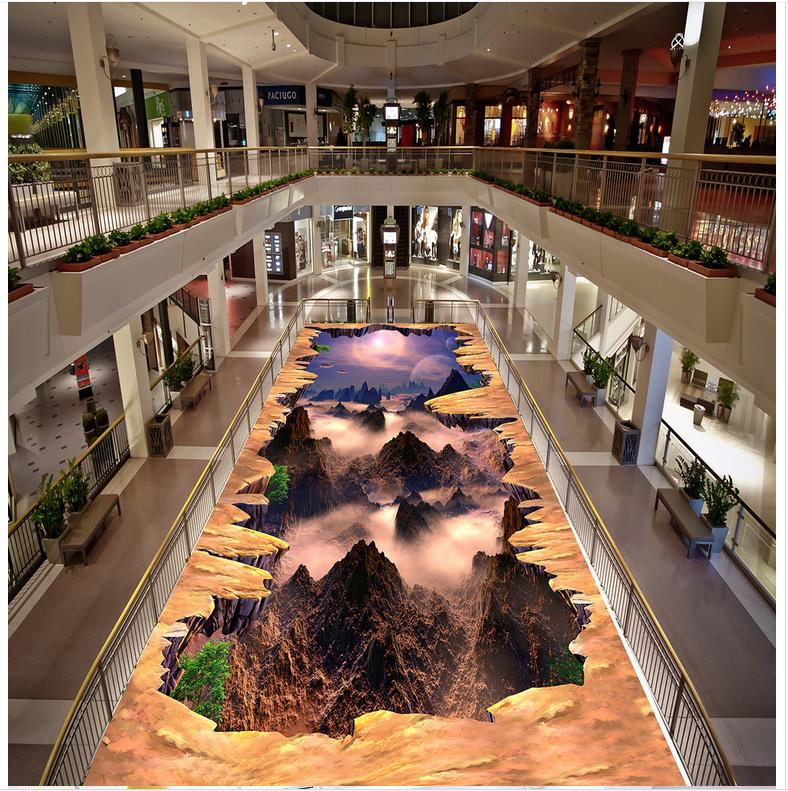 3D papier peint sol pour salon monde étanche sol mural peinture Photo sol papier peint 3d stéréoscopique