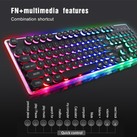 High Quality 3 Color Backlit English USB Wired Computer Keyboard Vintage Punk Keycap Durable Comfortable Gaming Keyboard ABS