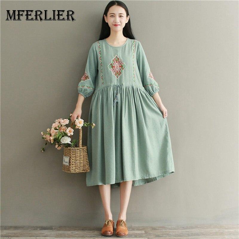 c80ac5859e3a Mferlier Mori Girl Autumn Retro Dress O Neck Lantern Sleeve Tassel Lace Up  Pleated Dresses Waist. US $21.87. Women Summer ...