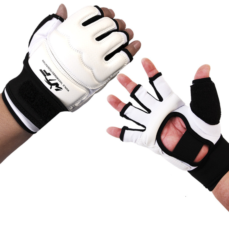 Kids Adult Half Finger Fight Boxing Gloves Mitts Sanda Karate Sandbag Protector for MMA Muay Thai Kick Boxing Training White цены
