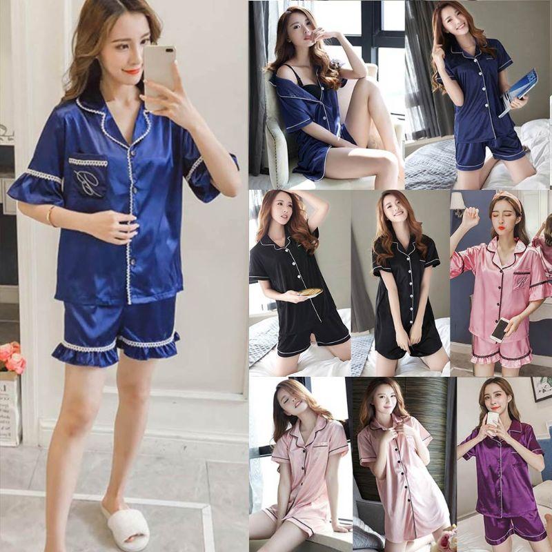 9 Styles Women Imitation Silk Summer   Pajamas     Set   Lapel Collar Button Down Short Sleeves V-Neck Loose Sleepwear Loungewear New