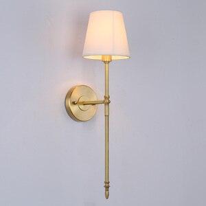 Image 3 - 2 מנורת נחושת מנורת קיר מודרני מינימליסטי סלון מרפסת חדר שינה מנורה שליד המיטה זרוע אחת מעבר אמריקאי נחושת קיר אור