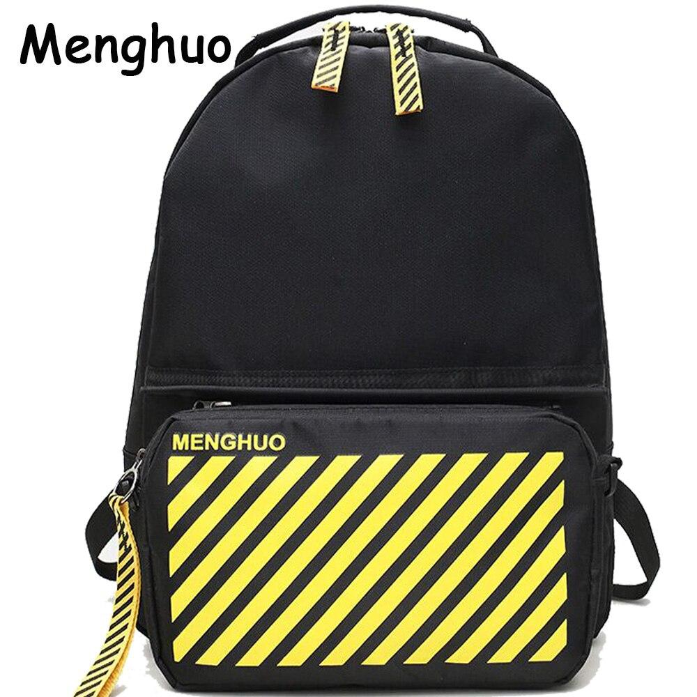 Menghuo 2018 Women Backpack College School Bag for Girls Boys 2pcs Laptop Backpack Sets 4 Pockets for Teenagers Mochila Feminine