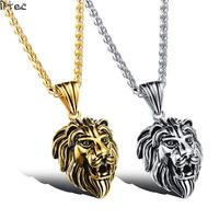 Iftec Wholesale Accessories Charm Fashion Men Jewelry Punk Style Color Lion Head Pendant Stainless Steel Necklace