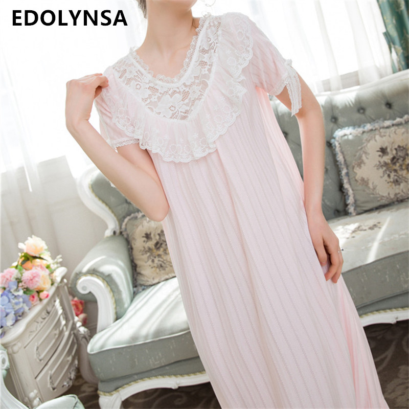 Vintage Nightgown Sleepwear Ruffle Lace Home Dress Pink Cotton Sleepshirts Night. Gown Long Indoor Clothing Cute Nightshirt T166