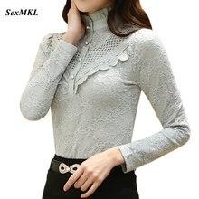 SEXMKL женские топы Модная белая кружевная блузка Осенняя офисная рубашка с длинным рукавом Корейская открытая черная блузка женская блуза