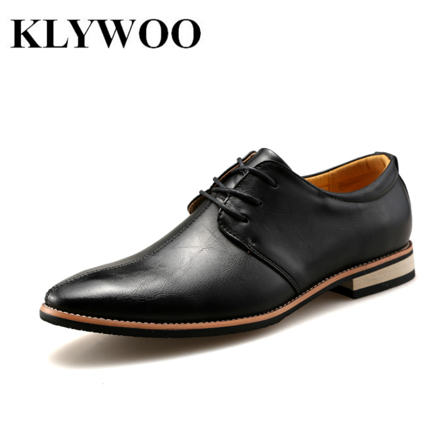 KLYWOO New Fashion Pointed Business Flats Classic Men Oxfords Casual Lace Up Men's Leather Shoes Breathable Zapatos Hombre