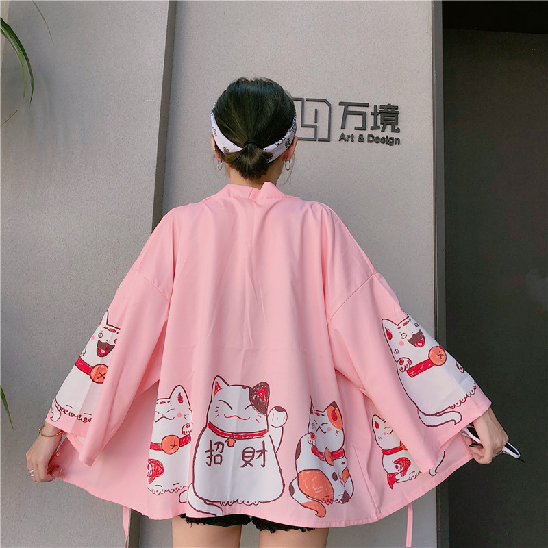 Harajuku Women Coat Japanese Lucky Cats Printing Summer Loose Sleeves Kimono Thin Coat Clothing Women