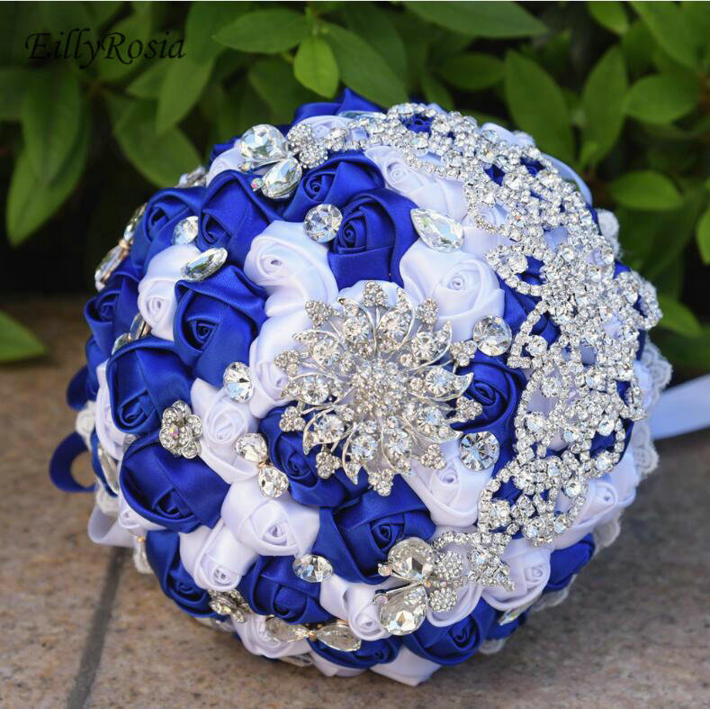 Royal Blue Bridal Bouquets 2019 Crystals Brooch Wedding