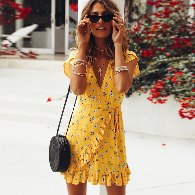 Women Loose Short Sleeve V-Neck Ruffles Print Casual Yellow Summer Chiffon Dress 2018 Beach Elegant Mini Dresses vestido