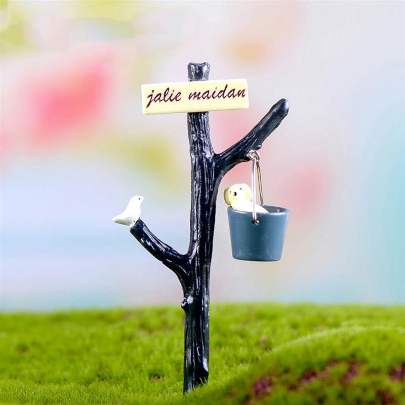 New 1pcs Dog Water Bucket Road Sign Terrarium Figurines Fairy Garden Miniatures Miniaturas Resin Craft Bonsai Decor