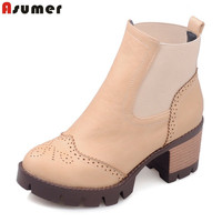 New Arrive Autumn Spring Female Ankle Boots With Cut Outs Square Heels Round Toe Platform Pu