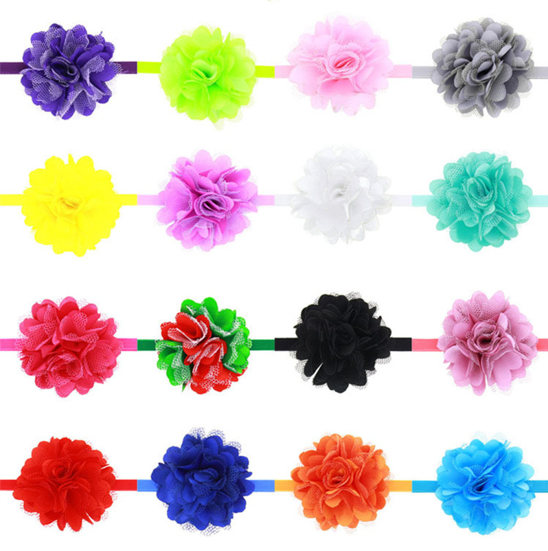 17Clrs New Fashion Hot children kids Baby girls Satin Lace Mini Flower Headband Headwear Hair Band Head Piece Accessories 4.5cm
