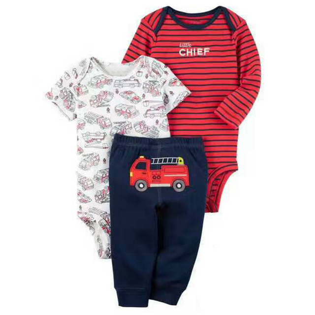 Kids Costumes sets Bebes Suits Outfits  Cartoon Newborn Baby Set 100% Cotton Boy Clothes Baby Boy Infant Clothing 3pcs Summer