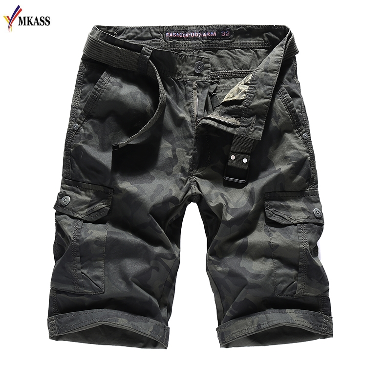 2018 Mens Shorts Multi Pocket Military Shorts Male Khaki and Armygreen Camouflage Casual Summer 100% Cotton Short Trousers